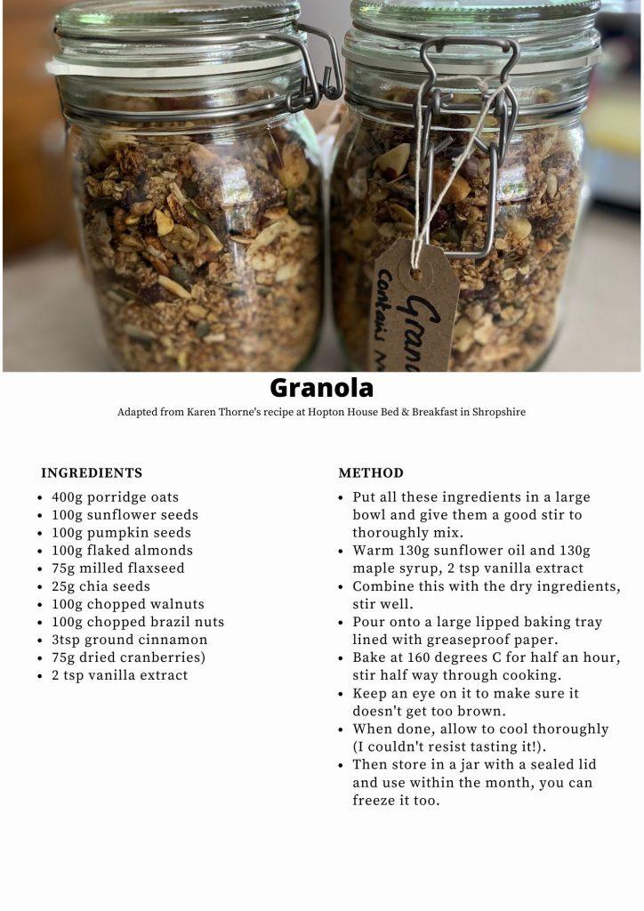 Jars of home made granola