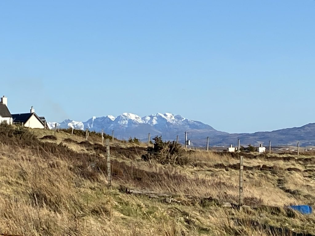 A view to snow topped Cuillin range