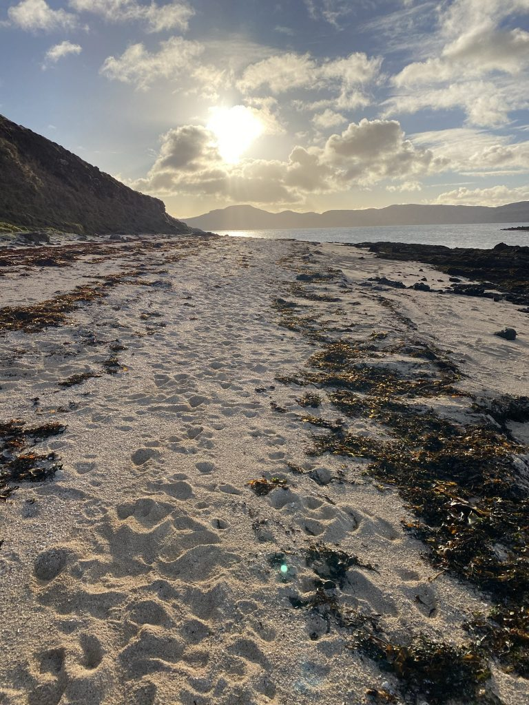 A sandy beach and Coral Beacch seen on one of day walks in Skye