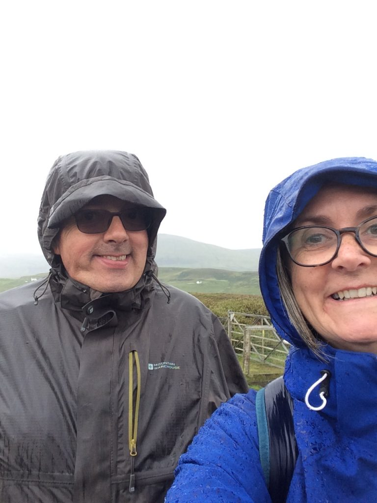 Catriona & Ian with wet weather gear on