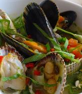 A meal of fresh shellfish.