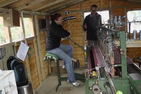 InsidecSkye Weavers workshop with their pedal powered loom.